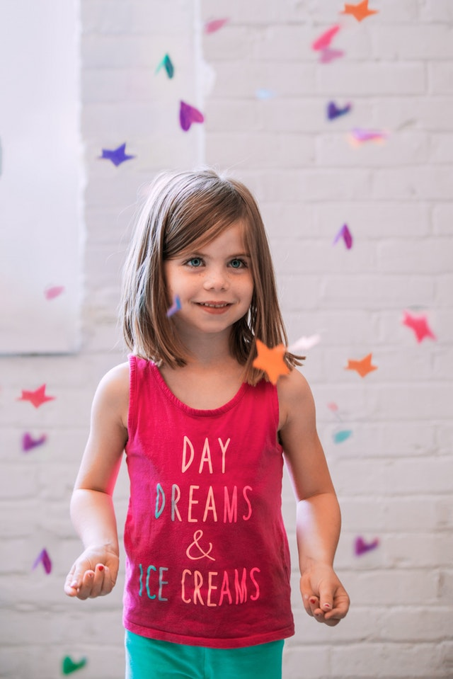 Image of happy child enaging in mindfulness class for children